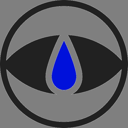 Логотип студии. На сером фоне контур чёрного круга. В него вписан глаз, залитый чёрным цветом. Поверх глаза изображена синяя капля.